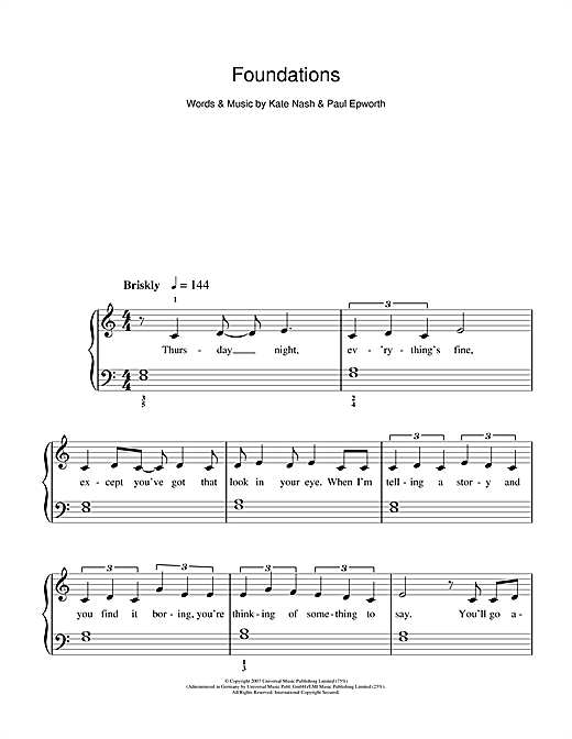 Kate Nash Foundations sheet music notes and chords. Download Printable PDF.