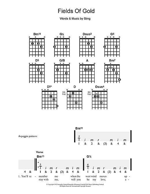 Sting Fields Of Gold sheet music notes and chords. Download Printable PDF.