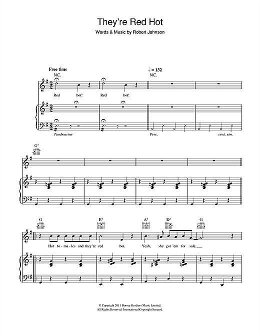 Hugh Laurie They're Red Hot sheet music notes and chords. Download Printable PDF.