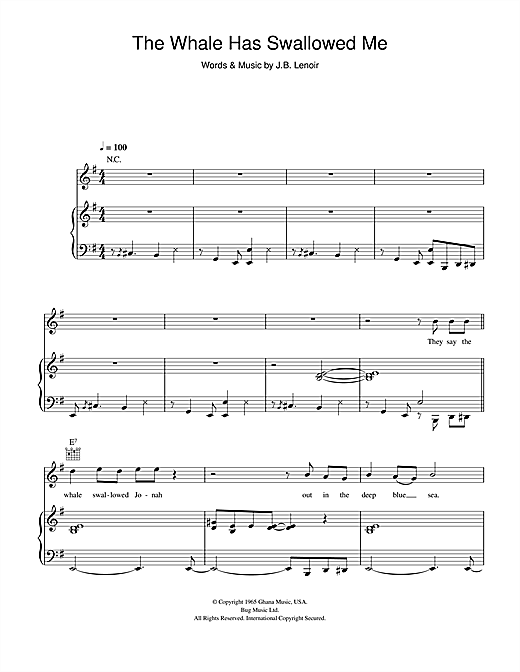 Hugh Laurie The Whale Has Swallowed Me sheet music notes and chords. Download Printable PDF.