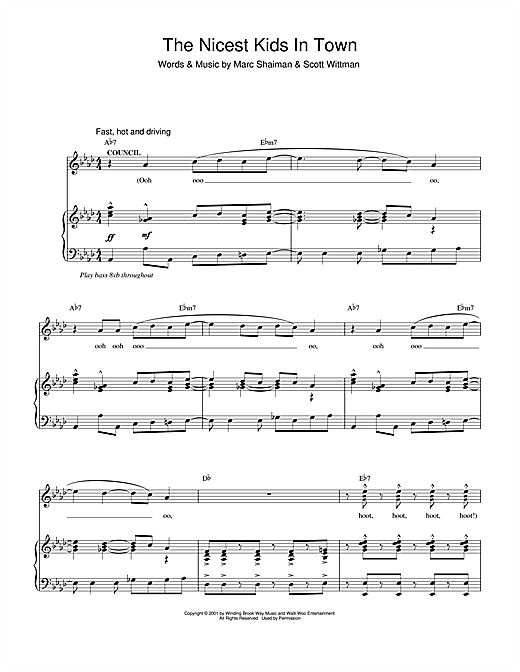 Marc Shaiman The Nicest Kids In Town (from Hairspray) sheet music notes and chords. Download Printable PDF.