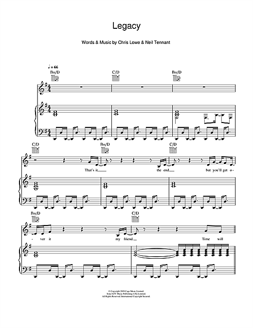 Pet Shop Boys Legacy sheet music notes and chords. Download Printable PDF.