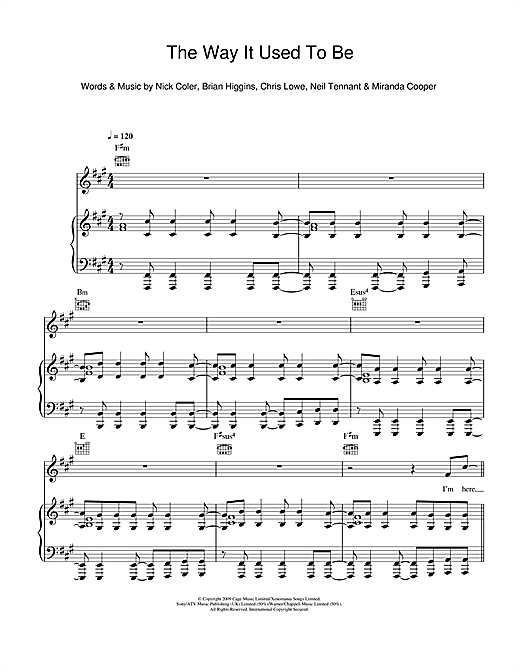 Pet Shop Boys The Way It Used To Be sheet music notes and chords. Download Printable PDF.