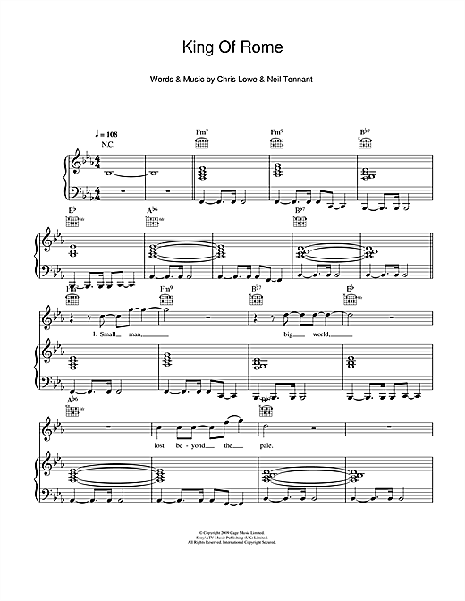Pet Shop Boys King Of Rome sheet music notes and chords. Download Printable PDF.