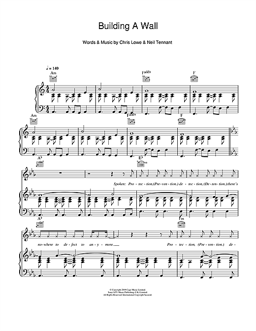 Pet Shop Boys Building A Wall sheet music notes and chords. Download Printable PDF.
