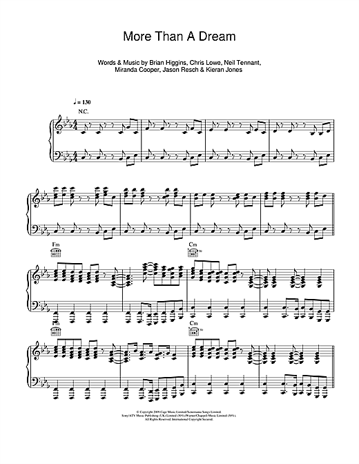 Pet Shop Boys More Than A Dream sheet music notes and chords. Download Printable PDF.