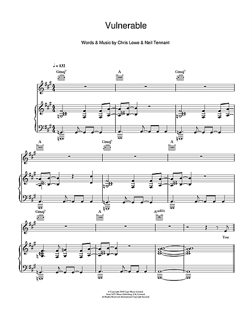 Pet Shop Boys Vulnerable sheet music notes and chords. Download Printable PDF.