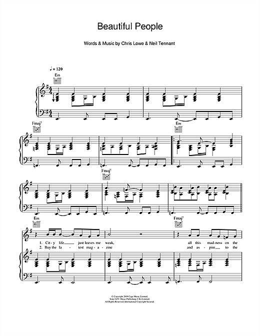 Pet Shop Boys Beautiful People sheet music notes and chords. Download Printable PDF.