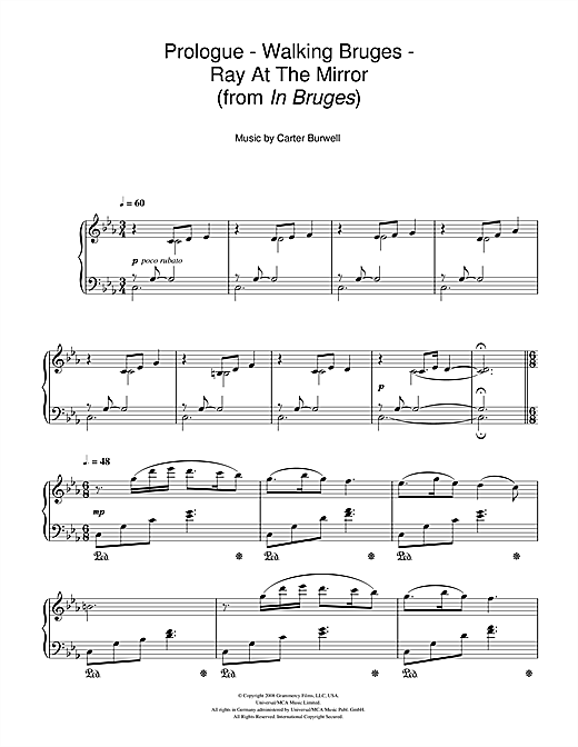 Carter Burwell Prologue - Walking Bruges - Ray At The Mirror (from In Bruges) sheet music notes and chords. Download Printable PDF.
