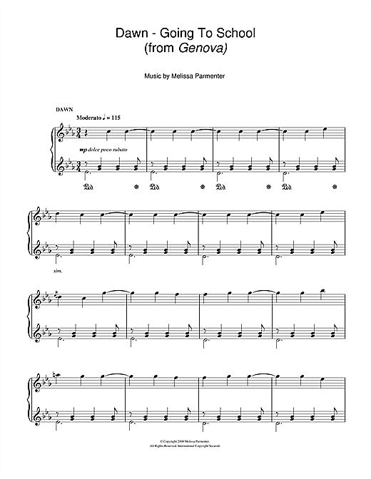 Melissa Parmenter Dawn - Going To School (from Genova) sheet music notes and chords. Download Printable PDF.