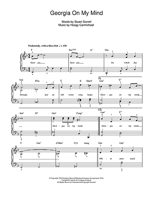 Ray Charles Georgia On My Mind sheet music notes and chords. Download Printable PDF.