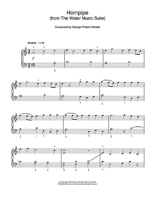 George Frideric Handel Hornpipe (from The Water Music Suite) sheet music notes and chords. Download Printable PDF.