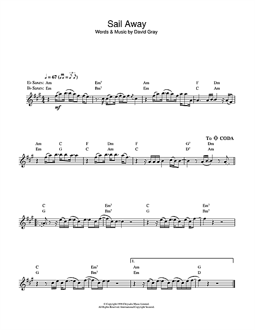 David Gray Sail Away sheet music notes and chords. Download Printable PDF.