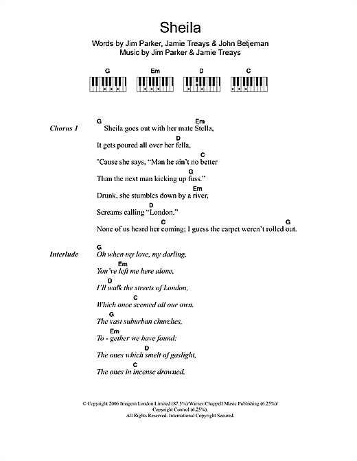 Jamie T Sheila sheet music notes and chords. Download Printable PDF.