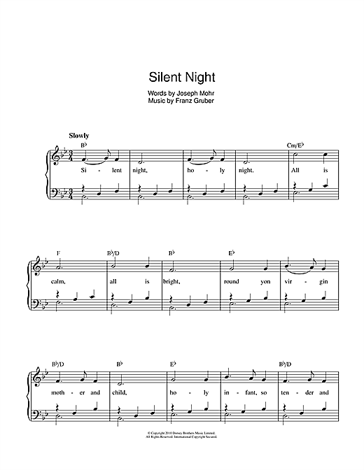 Franz Gruber Silent Night sheet music notes and chords. Download Printable PDF.