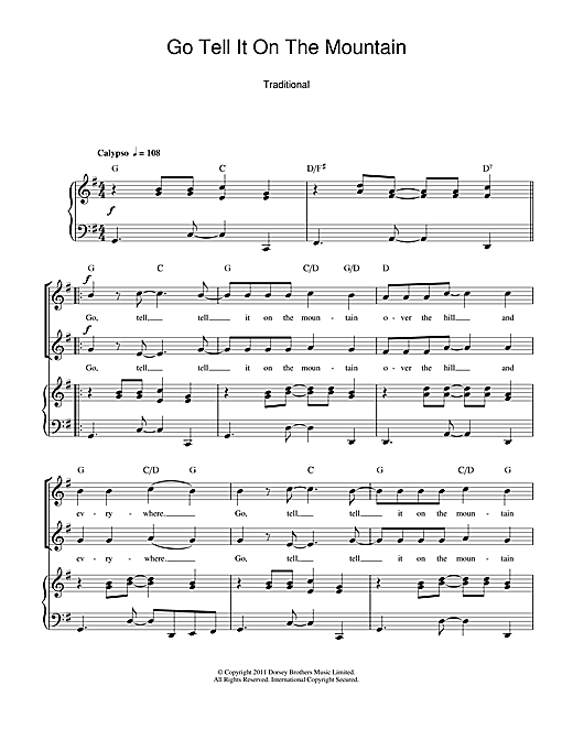 African-American Spiritual Go Tell It On The Mountain sheet music notes and chords. Download Printable PDF.