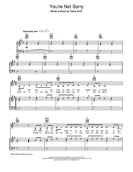 Taylor Swift You're Not Sorry sheet music notes and chords. Download Printable PDF.