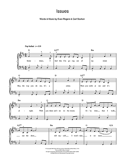 The Saturdays Issues sheet music notes and chords. Download Printable PDF.