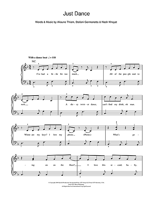 Lady Gaga Just Dance sheet music notes and chords. Download Printable PDF.