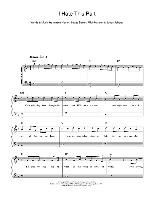 Pussycat Dolls I Hate This Part sheet music notes and chords. Download Printable PDF.