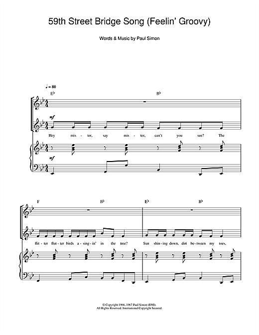 Simon & Garfunkel The 59th Street Bridge Song (Feelin' Groovy) sheet music notes and chords. Download Printable PDF.