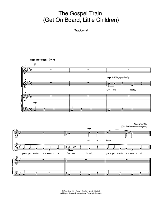 Traditional The Gospel Train (Get On Board Little Children) sheet music notes and chords. Download Printable PDF.