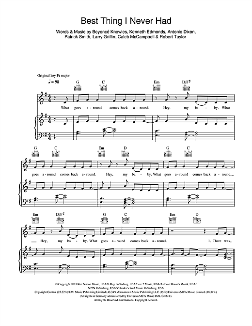 Beyoncé Best Thing I Never Had sheet music notes and chords. Download Printable PDF.