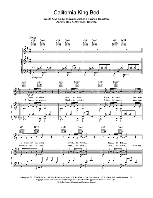 Rihanna California King Bed sheet music notes and chords. Download Printable PDF.