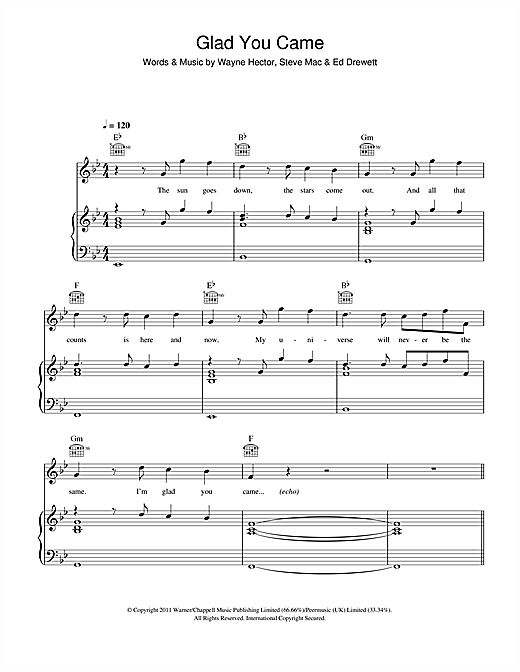 The Wanted Glad You Came sheet music notes and chords. Download Printable PDF.