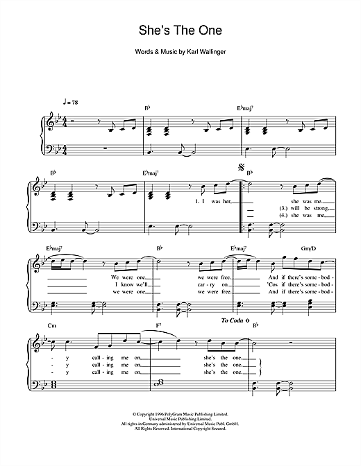 Robbie Williams She's The One sheet music notes and chords. Download Printable PDF.