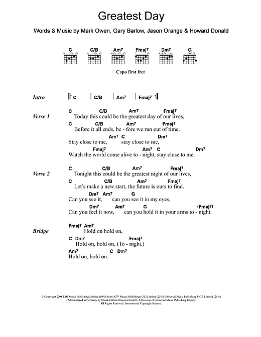 Take That Greatest Day sheet music notes and chords. Download Printable PDF.