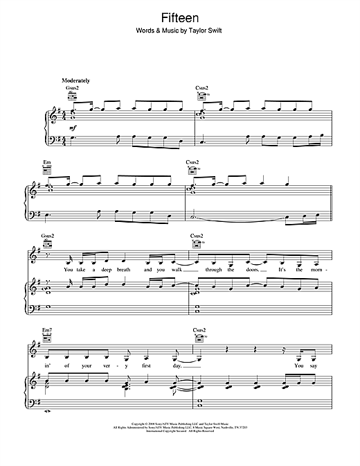 Taylor Swift Fifteen sheet music notes and chords. Download Printable PDF.