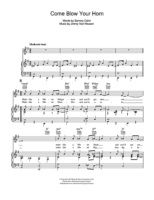 Frank Sinatra Come Blow Your Horn sheet music notes and chords. Download Printable PDF.