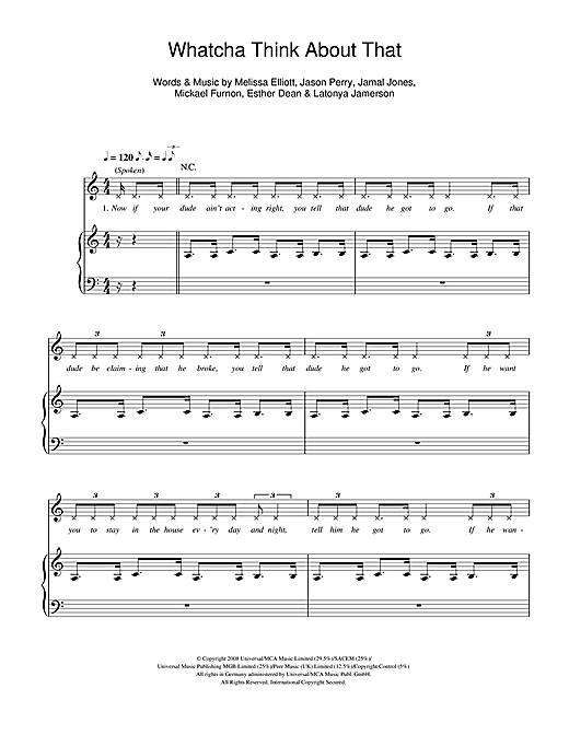Pussycat Dolls Whatcha Think About That sheet music notes and chords. Download Printable PDF.
