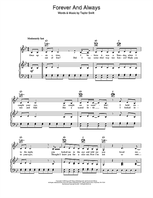 Taylor Swift Forever And Always sheet music notes and chords. Download Printable PDF.