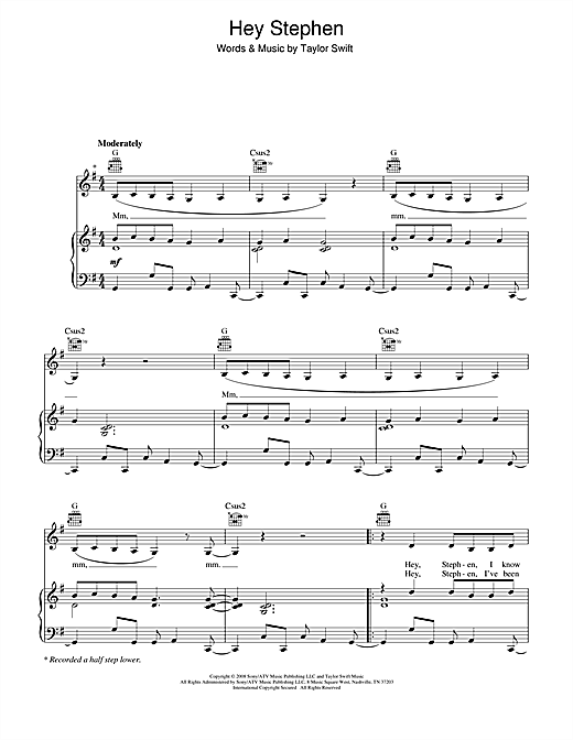 Taylor Swift Hey Stephen sheet music notes and chords. Download Printable PDF.