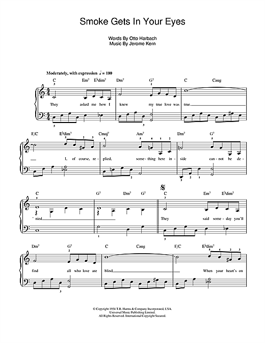 Jerome Kern Smoke Gets In Your Eyes (from 'Roberta') sheet music notes and chords. Download Printable PDF.