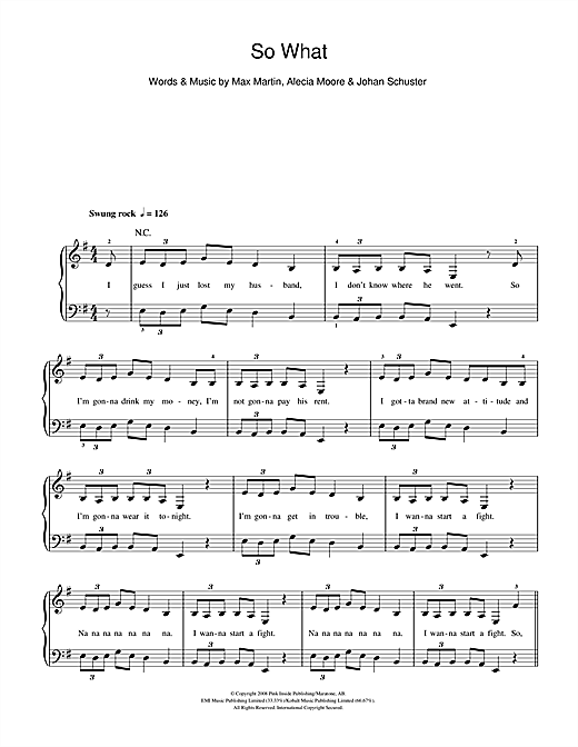 Pink So What sheet music notes and chords. Download Printable PDF.