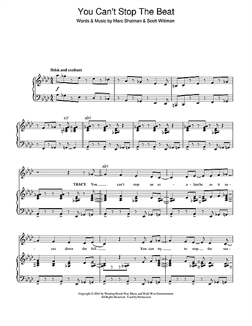 Marc Shaiman You Can't Stop The Beat (from Hairspray) sheet music notes and chords. Download Printable PDF.