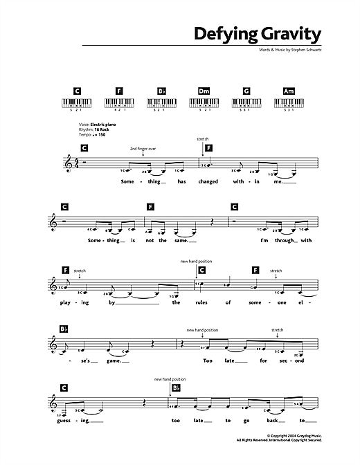 Stephen Schwartz Defying Gravity (from the Broadway Musical Wicked) sheet music notes and chords. Download Printable PDF.
