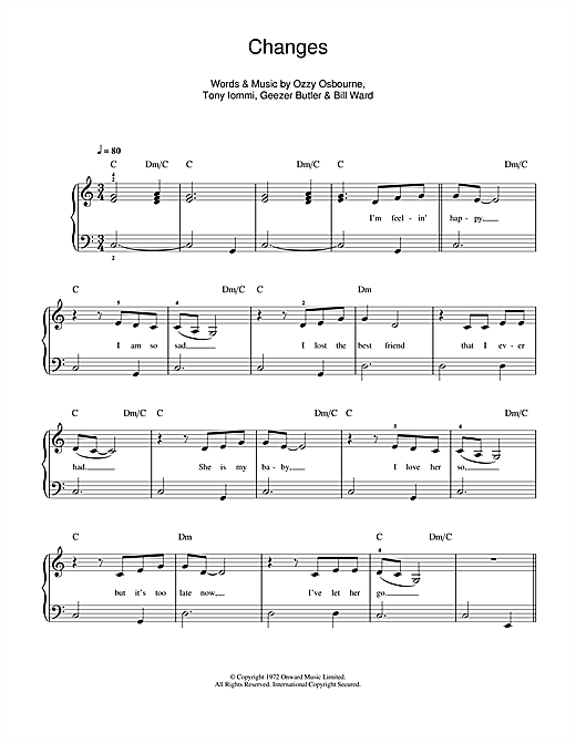 Kelly & Ozzy Osbourne Changes sheet music notes and chords. Download Printable PDF.