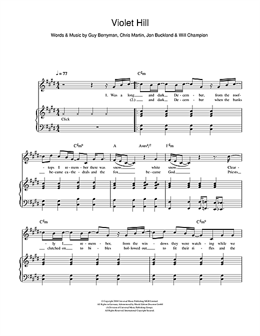 Coldplay Violet Hill sheet music notes and chords. Download Printable PDF.