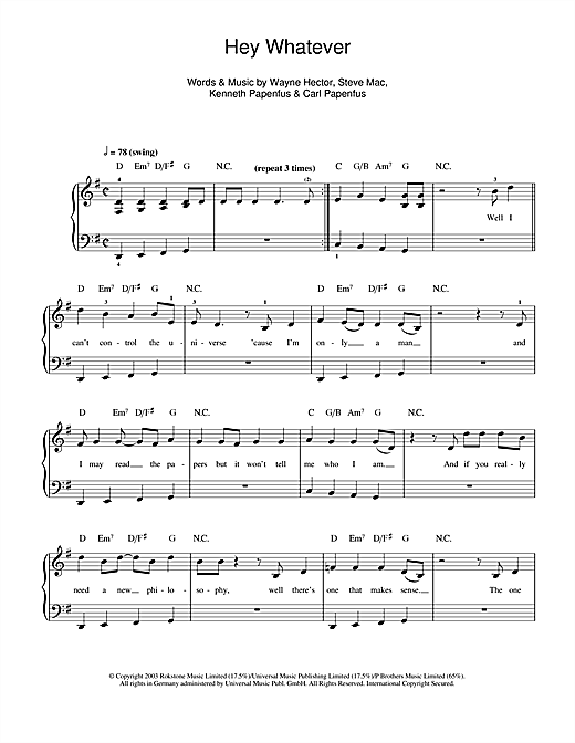 Westlife Hey Whatever sheet music notes and chords. Download Printable PDF.