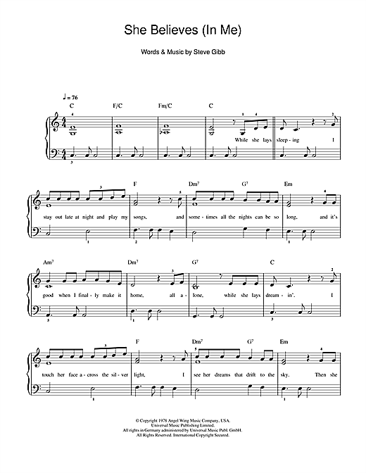 Ronan Keating She Believes (in Me) sheet music notes and chords. Download Printable PDF.
