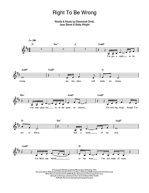 Joss Stone Right To Be Wrong sheet music notes and chords. Download Printable PDF.
