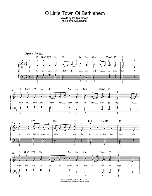Christmas Carol O Little Town Of Bethlehem sheet music notes and chords. Download Printable PDF.