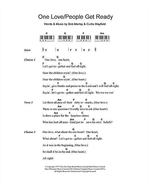 Bob Marley One Love/People Get Ready sheet music notes and chords. Download Printable PDF.