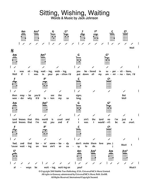 Jack Johnson Sitting, Waiting, Wishing sheet music notes and chords. Download Printable PDF.