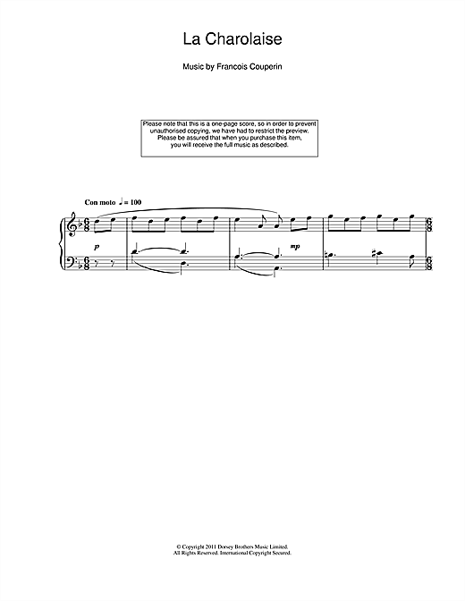 Francois Couperin La Charolaise sheet music notes and chords. Download Printable PDF.