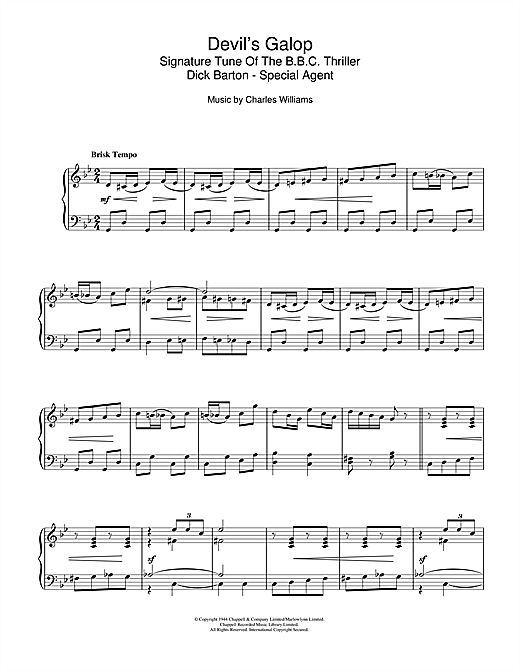 Download or print Charles Williams Devil's Galop (Theme to Dick Barton) Sheet Music Printable PDF -page score for Easy Listening / arranged Piano SKU: 112123.